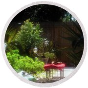 The Garden Bench Round Beach Towel