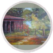 The Garden Gate Round Beach Towel