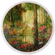 The Garden Of Enchantment Round Beach Towel