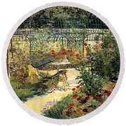 The Garden Of Manet Round Beach Towel