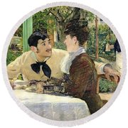 The Garden Of Pere Lathuille Round Beach Towel by Edouard Manet