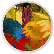 The Garden Of Sins Round Beach Towel