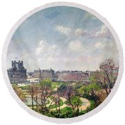 The Garden Of The Tuileries Round Beach Towel