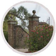 The Gate At Boone Hall Round Beach Towel