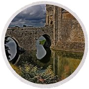 The Gatehouse And Moat At Leeds Castle Round Beach Towel