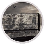 The Gathering - Vultures Above An Old Barn Round Beach Towel