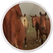 The Gauntlet - Horses Round Beach Towel