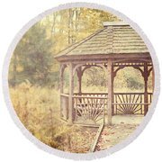 The Gazebo In The Woods Round Beach Towel by Lisa Russo