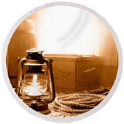The General Store Backroom - Sepia Round Beach Towel