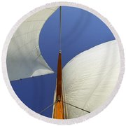 The Genoa And Mainsail Of A Classic Sailboat Round Beach Towel
