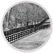The Geometry Of Spring - Paint Bw Round Beach Towel