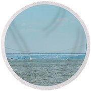 The George Washington Bridge - New York - New Jersey Round Beach Towel