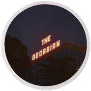 The Georgian At Night, Santa Monica, Ca Round Beach Towel