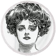 The Gibson Girl Round Beach Towel