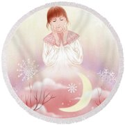 The Girl In Meditation Round Beach Towel