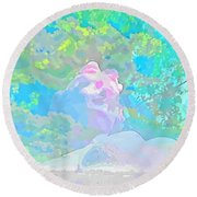 The Girl In The Pink Light Round Beach Towel
