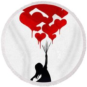 The Girl With The Red Balloons Round Beach Towel