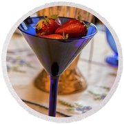 The Glass Of Strawberries Round Beach Towel