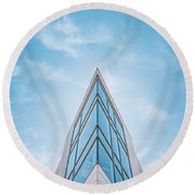 The Glass Tower On Downer Avenue Round Beach Towel