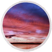 The Gloaming Of Lac Vieux Desert Round Beach Towel