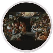 The Glorification Of Art And Diligence And The Punishment Of Gluttony And Earthly Pleasures Round Beach Towel