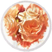 The Glow Of Roses Round Beach Towel
