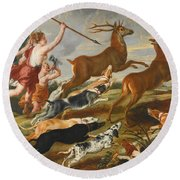 The Goddess Diana And Her Nymphs Hunting Deer Round Beach Towel