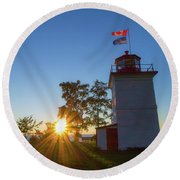 The Goderich Lighthouse At Sunset Round Beach Towel