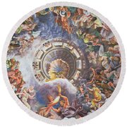 The Gods Of Olympus Round Beach Towel by Giulio Romano