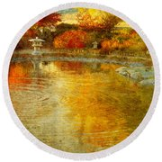 The Golden Dreams Of Autumn Round Beach Towel