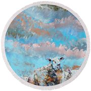The Golden Flock - Colorful Sheep Art Round Beach Towel