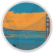 The Golden Gate Bridge In Sfo California Travel Poster 2 Round Beach Towel