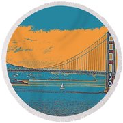 The Golden Gate Bridge In Sfo California Travel Poster Round Beach Towel