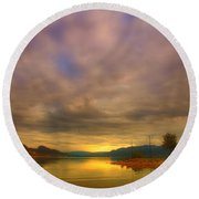 The Golden Glow Of Morning Round Beach Towel