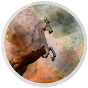 The Golden Horse Round Beach Towel by Issabild -