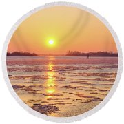 The Golden Hour And Ice Drift Round Beach Towel