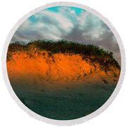 The Golden Hour Illuminating The Dunes Round Beach Towel