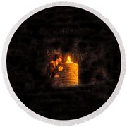 The Golden Idol Round Beach Towel