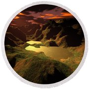 The Golden Lake Round Beach Towel