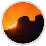 The Golden Light Of The Sonoran Desert  Round Beach Towel