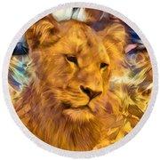 The Golden Lioness  Round Beach Towel