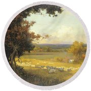 The Golden Valley Round Beach Towel by Sir Alfred East