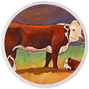 The Good Mom Folk Art Hereford Cow And Calf Round Beach Towel