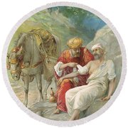 The Good Samaritan Round Beach Towel by Ambrose Dudley