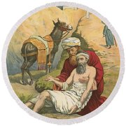 The Good Samaritan Round Beach Towel