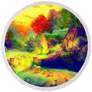 The Good Shepherd Painting In Hotty Totty  Round Beach Towel