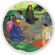 The Gossipers Round Beach Towel by Paul Gauguin