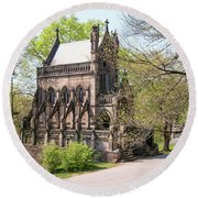 The Gothic Temple In Spring Grove Cemetery Round Beach Towel