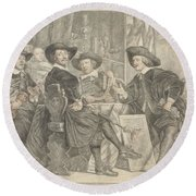 The Governors Of The Longbow Archers Round Beach Towel