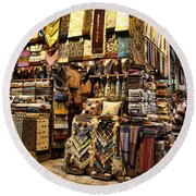 The Grand Bazaar In Istanbul Turkey Round Beach Towel by David Smith
